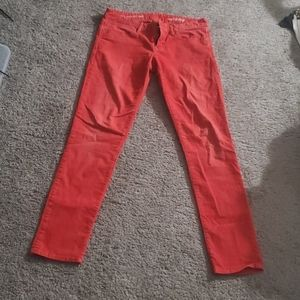 Orange skinny corduroy pants